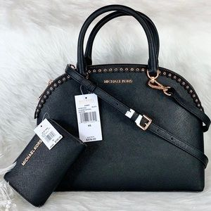 New MICHAEL KORS SET BLACK LARGE DOME EMMY SATCHEL